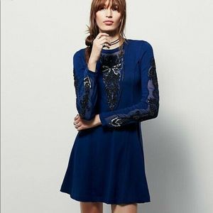 Free People Black Forest Beaded Blue Dress Size XS